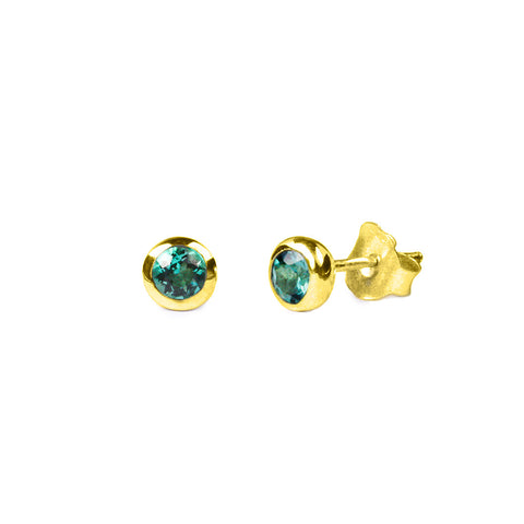 DIPTA SINGLE BUBBLE EARRING STUDS - GREEN QUARTZ