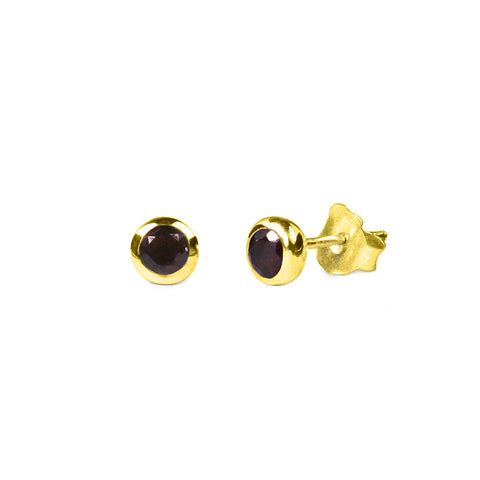 DIPTA SINGLE BUBBLE EARRING STUDS - SMOKEY QUARTZ