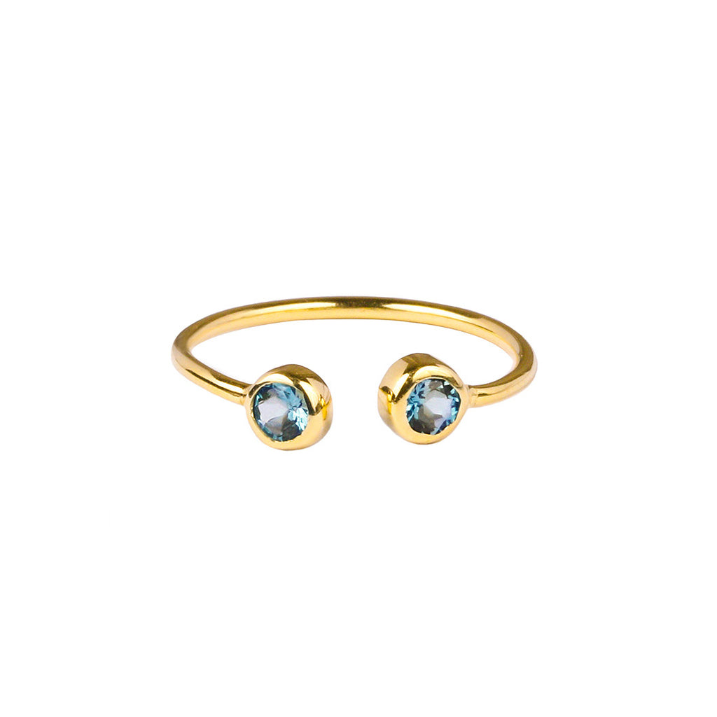 DIPTA TINY DOUBLE BUBBLE RING - BLUE TOPAZ