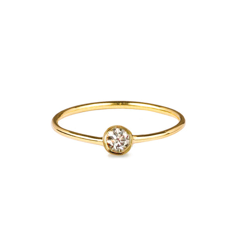 DIPTA TINY SINGLE BUBBLE RING - CZ CUBIC ZIRCONIA - GOLD