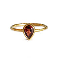 DIPTA GARNET TOPAZ TEAR DROP RING - GOLD