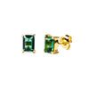 GITA SINGLE BAGUETTE EARRING STUDS - GREEN QUARTZ