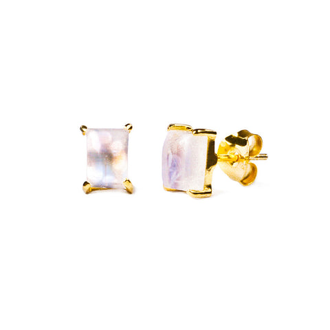 GITA SINGLE BAGUETTE EARRING STUDS - RAINBOW MOONSTONE
