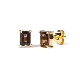 GITA SINGLE BAGUETTE EARRING STUDS - SMOKEY QUARTZ