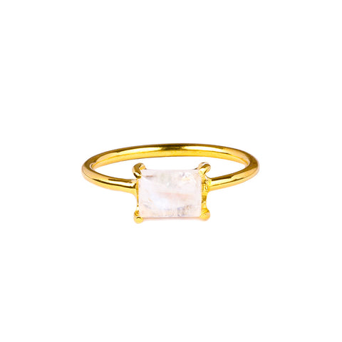 GITA SINGLE BAGUETTE RING - RAINBOW MOONSTONE