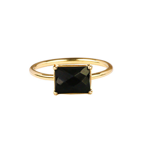 GITA SINGLE BAGUETTE RING - BLACK ONYX - GOLD
