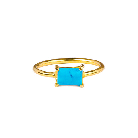 GITA SINGLE BAGUETTE RING - TURQUOISE