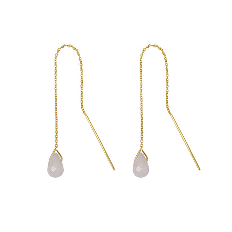GENTA THREAD CHAIN EARRING - ROSE QUARTZ