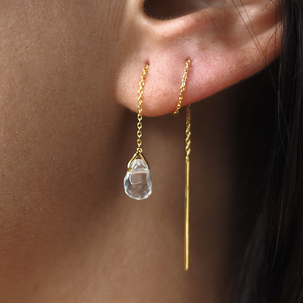GENTA THREAD CHAIN EARRING - WHITE TOPAZ