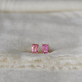 GITA SINGLE BAGUETTE EARRINGS - PINK TOPAZ
