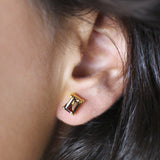 GITA SINGLE BAGUETTE EARRING - BLACK ONYX
