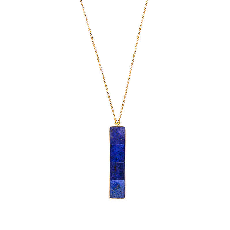 NALA LONG BAR NECKLACE - LAPIS LAZULI