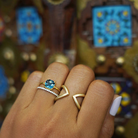 DIPTA MEDIUM BUBBLE RING - LONDON BLUE TOPAZ - GOLD