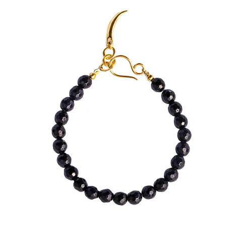 NIRMALA BEAD BRACELET WITH CLAW - BLACK ONYX