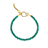 NIRMALA BEAD BRACELET WITH CLAW - GREEN ONYX