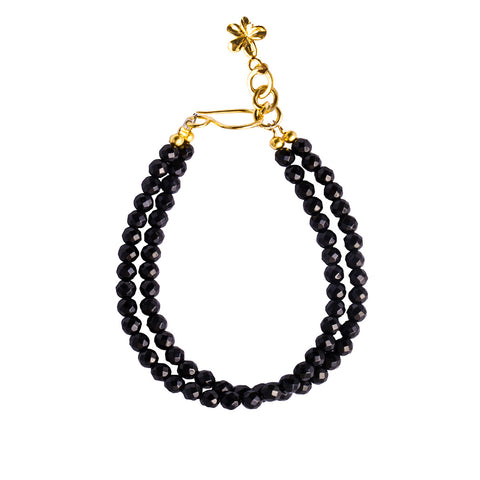 NIRMALA DOUBLE STRING BRACELET WITH FRANGIPANI - BLACK ONYX