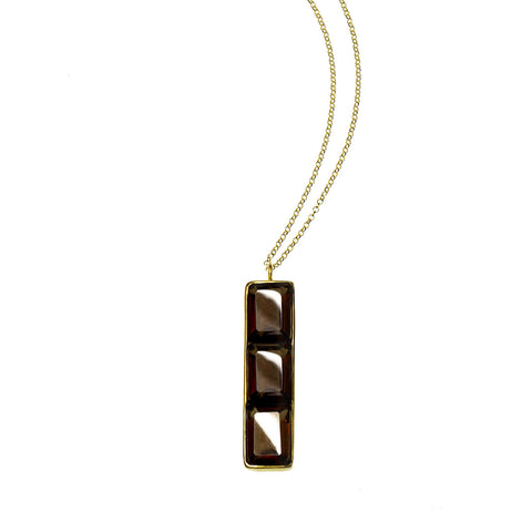 NALA LONG BAR NECKLACE - SMOKEY QUARTZ