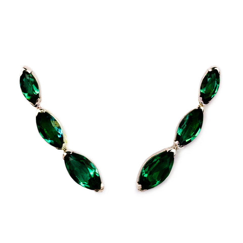 SUNDARI EAR CLIMBER EARRINGS - DARK GREEN QUARTZ