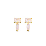 SUNDARI MINI EAR CLIMBER EARRINGS - RAINBOW MOONSTONE
