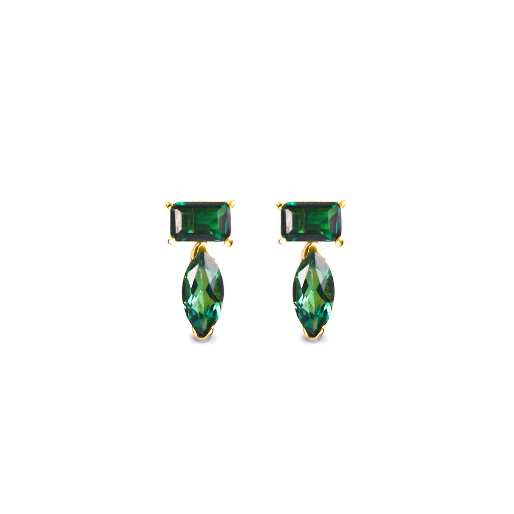SUNDARI MINI EAR CLIMBER EARRINGS - GREEN QUARTZ