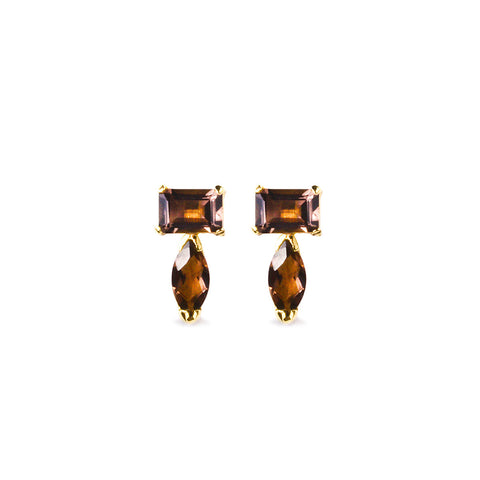 SUNDARI MINI EAR CLIMBER EARRINGS - SMOKEY QUARTZ