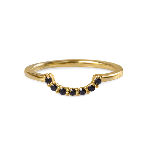 TARA HALF CIRCLE RING - BLACK SPINEL - GOLD