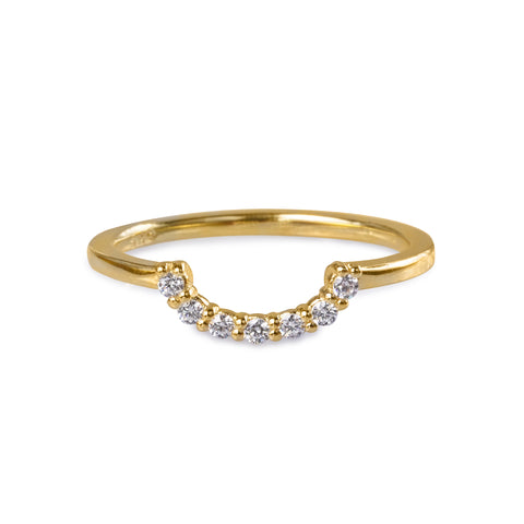 TARA HALF CIRCLE RING - WHITE CZ - GOLD