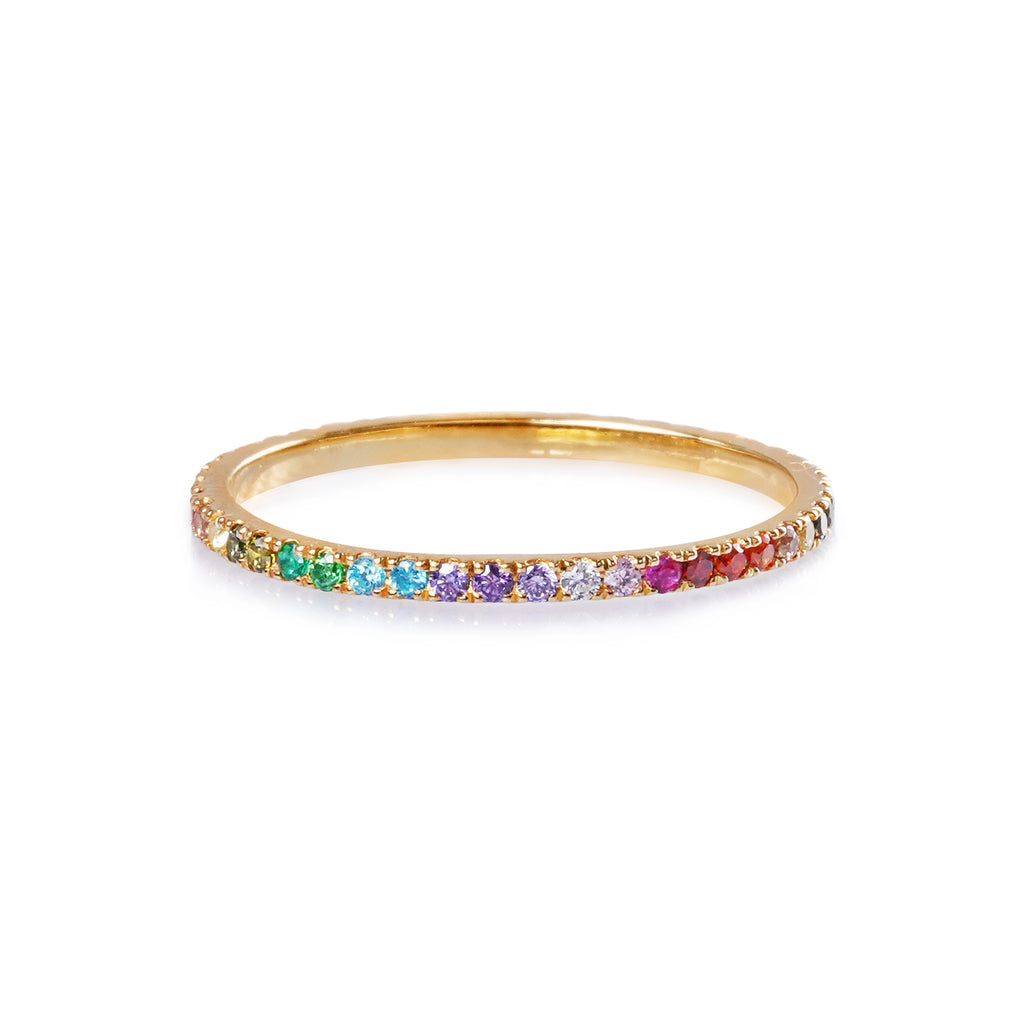 TARA PAVE 1MM MULTI COLORED CZ RING - GOLD