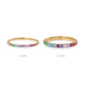 TARA PAVE 2MM 1MM MULTI COLORED CZ RING - GOLD