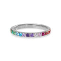 TARA PAVE 2MM MULTI COLORED CZ RING