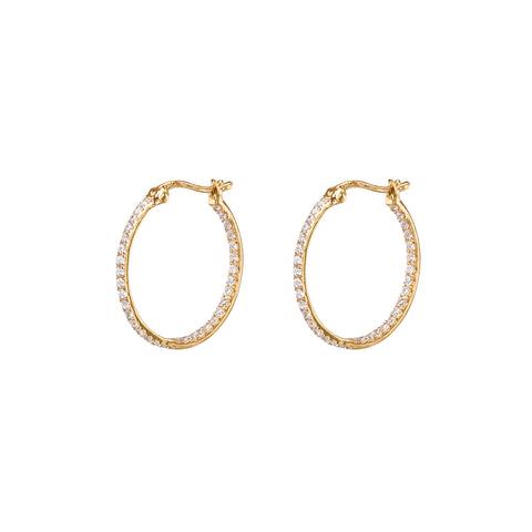 TARA PAVE THIN HOOP EARRINGS