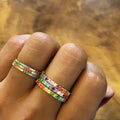 TARA PAVE 2MM MULTI COLORED CZ RING - GOLD
