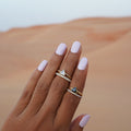 TARA PAVE 1MM WHITE CZ RING - GOLD