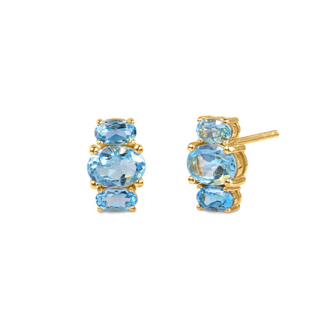 TRIO STONE EARRINGS - BLUE TOPAZ