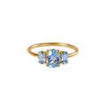 TRIO STONE RING - BLUE TOPAZ - GOLD