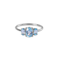 TRIO STONE RING - BLUE TOPAZ