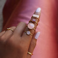 VIRA BOLD RING - ROSE QUARTZ - GOLD