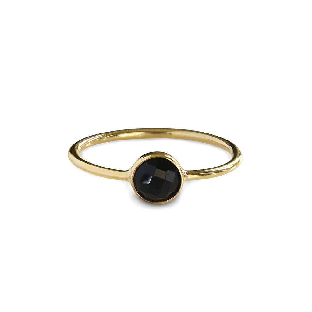 DIPTA TINY SINGLE BUBBLE RING - BLACK ONYX - GOLD