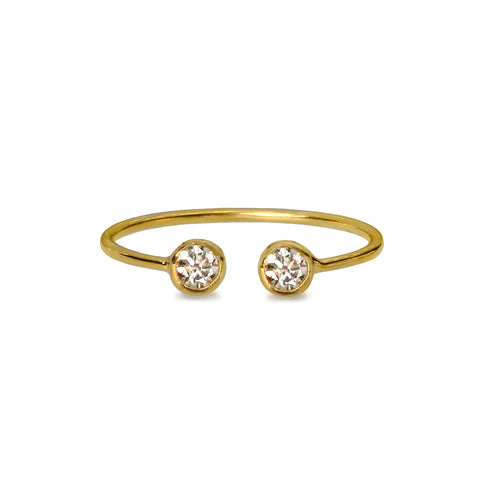 DIPTA TINY DOUBLE BUBBLE RING - CZ CUBIC ZIRCONIA - GOLD