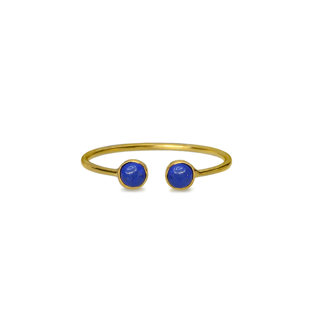 DIPTA TINY DOUBLE BUBBLE RING - LAPIS LAZULI - GOLD
