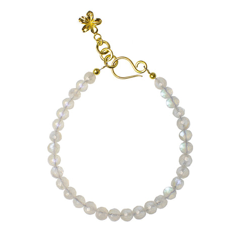 NIRMALA BEAD BRACELET WITH FRANGIPANI - RAINBOW MOONSTONE