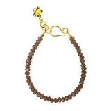 NIRMALA BEAD BRACELET WITH FRANGIPANI - SMOKEY QUARTZ