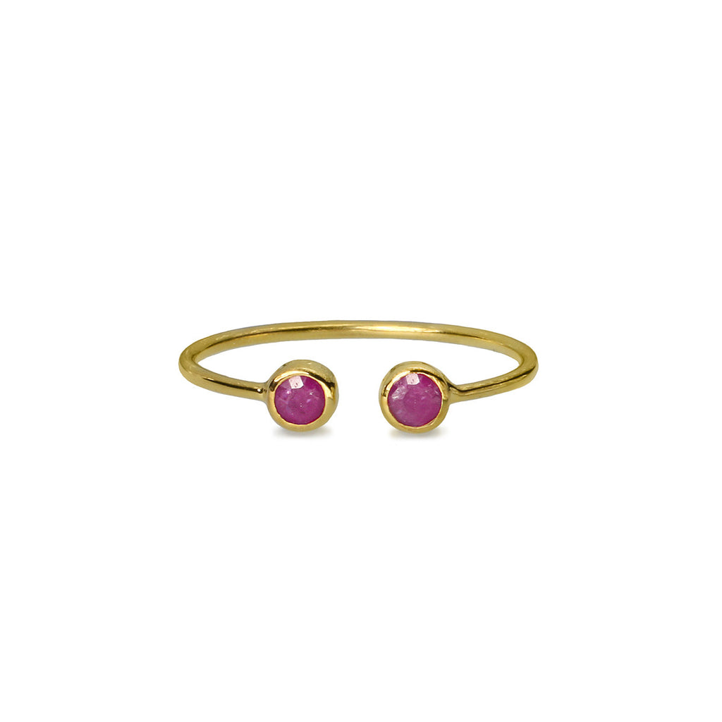 DIPTA TINY DOUBLE BUBBLE RING - RUBY - GOLD
