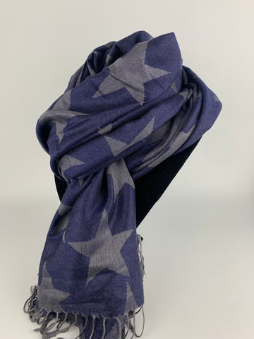 Navy Big Star Scarf