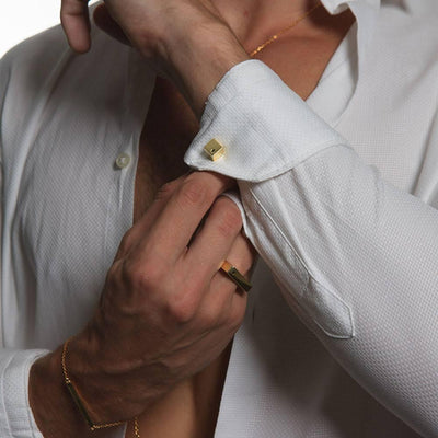 STYLE WITH JAYE KAYE CUBIC YELLOW CUFFLINKS