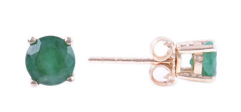 14K YELLOW GOLD EMERALD EARRINGS MAY SEVEN50