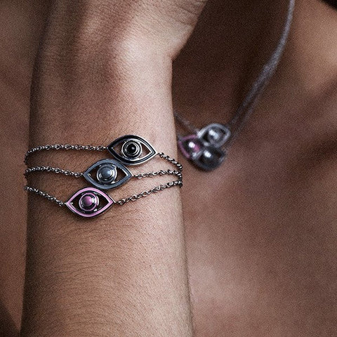 NETALI NISSIM X SEVEN50 - EYE BRACELET IN STERLING SILVER WITH WHITE ENAMEL