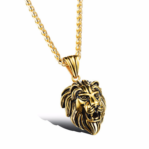 MENS LION HEAD PENDANT NECKLACE STAINLESS STEEL SEVEN50 CHARLIE MATTHEWS