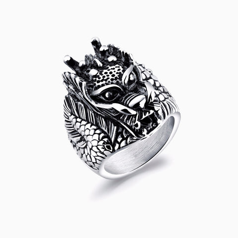 MENS DRAGON HEAD STAINLESS STEEL RING CHARLIE MATTHEWS SEVEN50