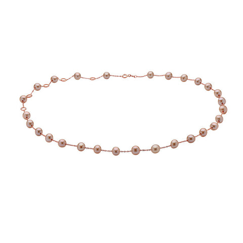 ROSE GOLD PINK PEARL CHOKER NECKLACE